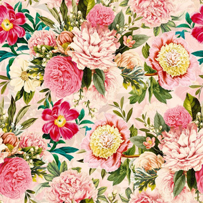 "18"" Pierre-Joseph-Redoute - Historic pastel Roses and Peonies bouquets fabric on blush pink - redoute roses fabric"