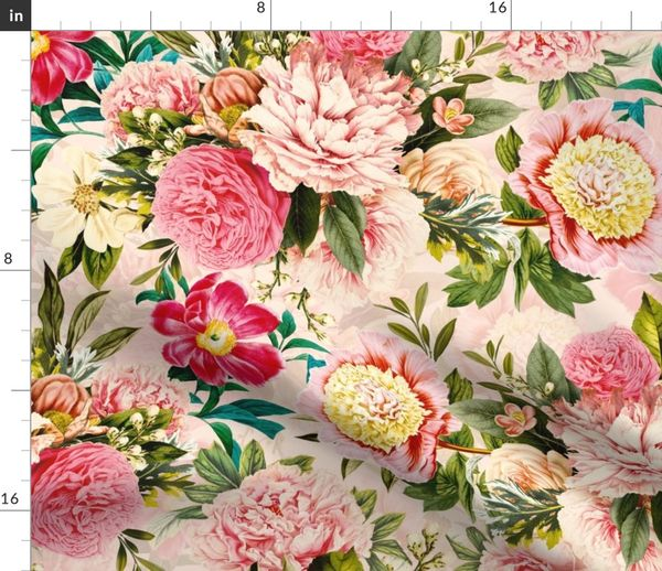 Antique Shabby Cottage Roses Cotton Fabric ~ Apple Green Strawberry Red Pink