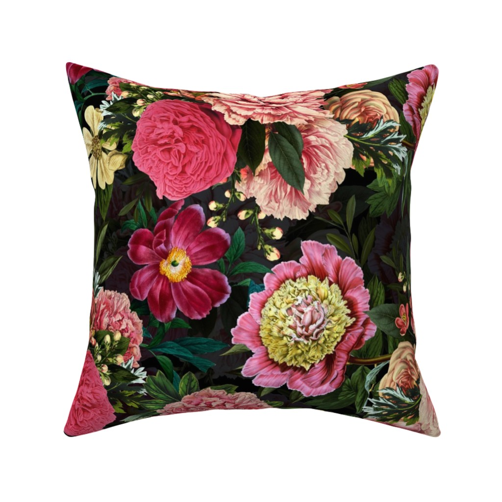 """Catalan Throw Pillow featuring 18"""" Pierre-Joseph-Redoute - Historic Antique pastel Roses and Peonies bouquets on black  by utart"""