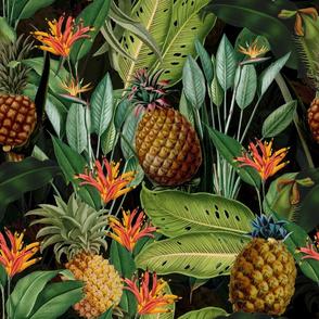 """18""""Pierre-Joseph Redouté-Fruit Cocktail,Antique Tropical Palm Jungle with Pineapple,black"""