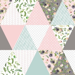 """blush floral triangle cheater quilt  - 6"""" triangles"""