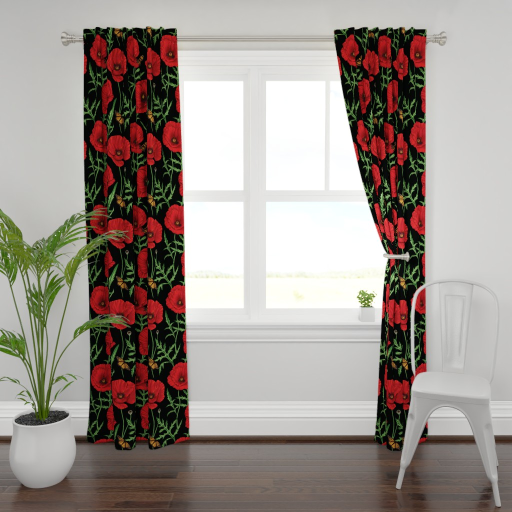 Plymouth Curtain Panel featuring Botanical Red Poppy Flowers with Butterflies - Black Larger Size by edible_therapy_design