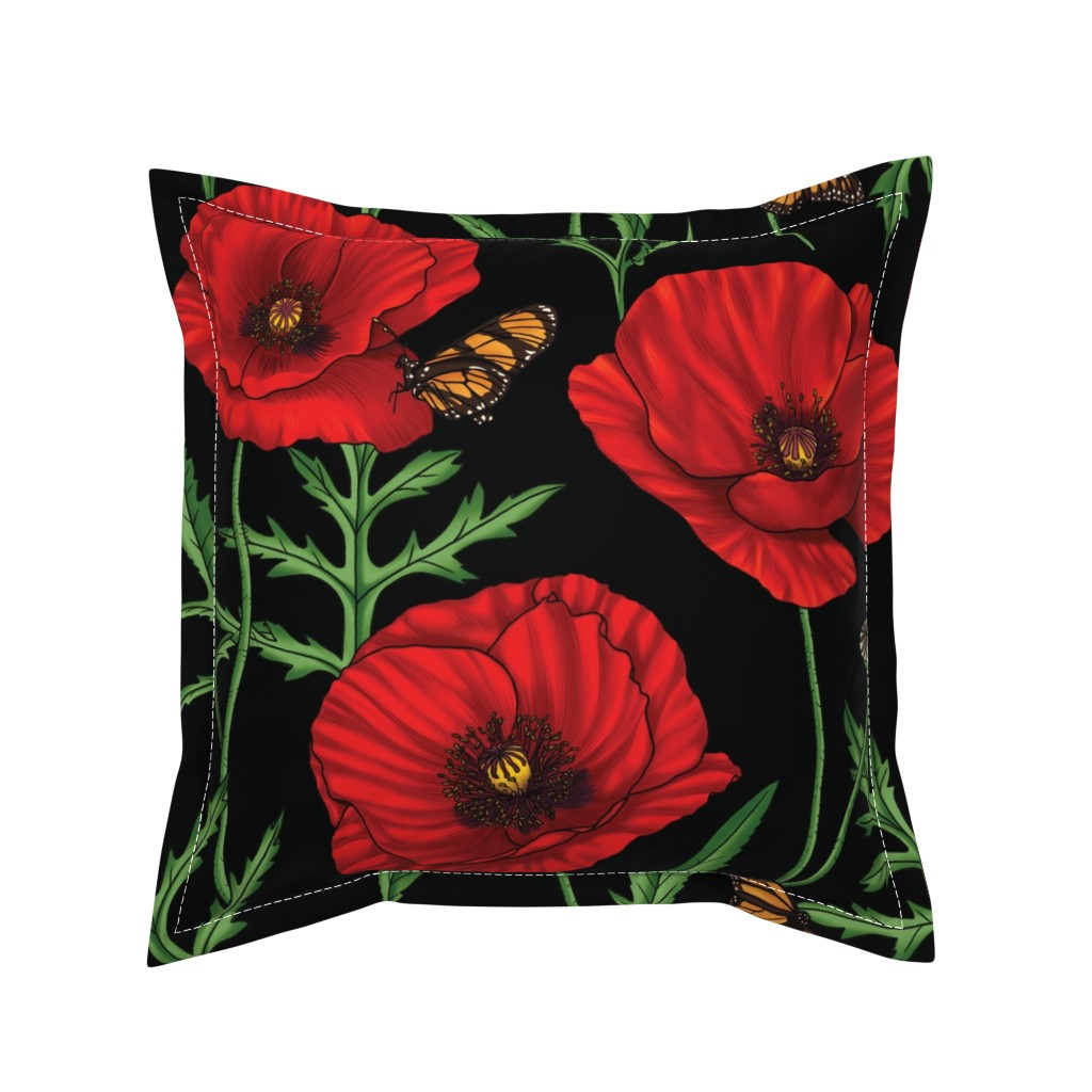 Serama Throw Pillow featuring Botanical Red Poppy Flowers with Butterflies by edible_therapy_design