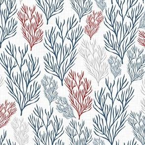 Red & Blue Seaweeds Textured V.03
