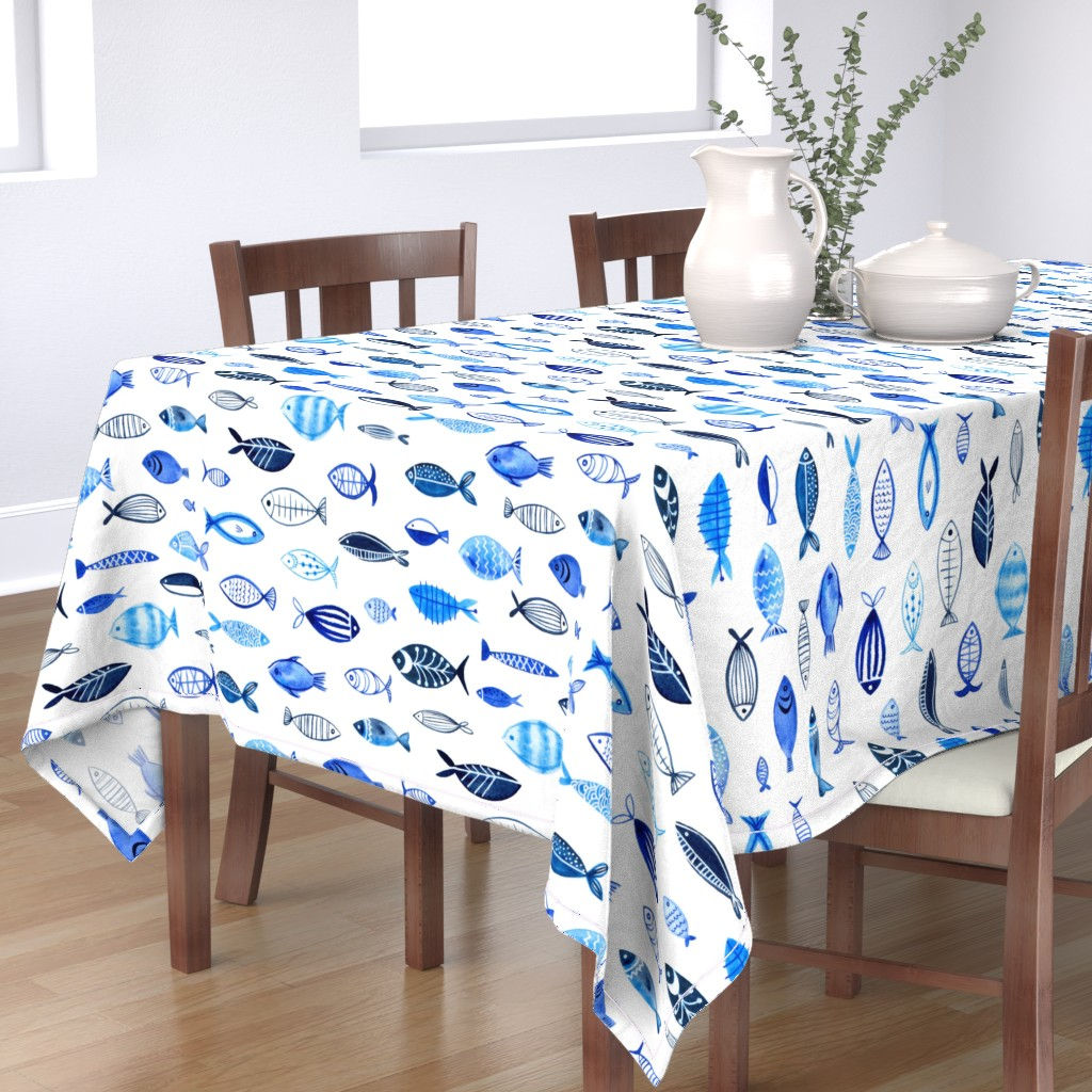 Bantam Rectangular Tablecloth featuring Watercolor fishes by movezerb