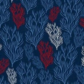 Red & Blue Seaweeds Blue Textured
