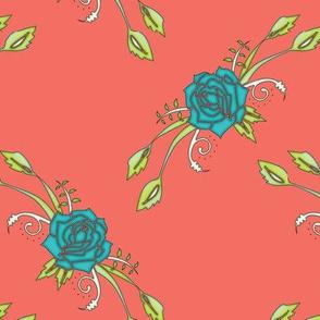 Rose Lattice Coral Blue