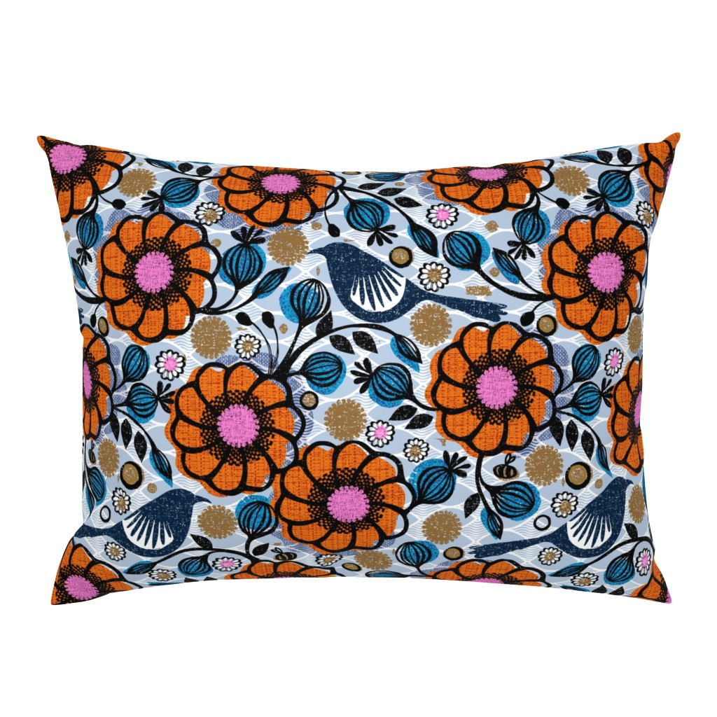 Campine Pillow Sham featuring Honeycreepers and bees in the garden by ottomanbrim