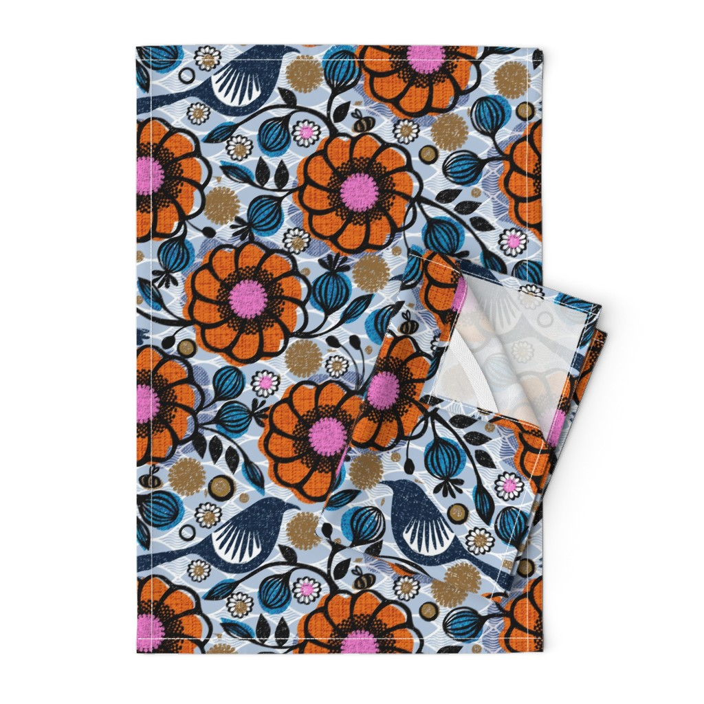Orpington Tea Towels featuring Honeycreepers and bees in the garden by ottomanbrim