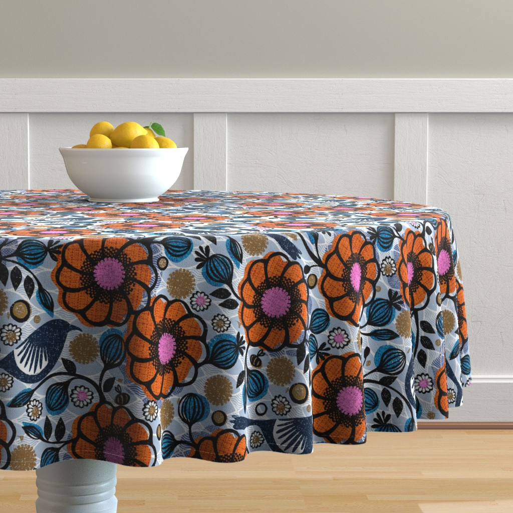 Malay Round Tablecloth featuring Honeycreepers and bees in the garden by ottomanbrim