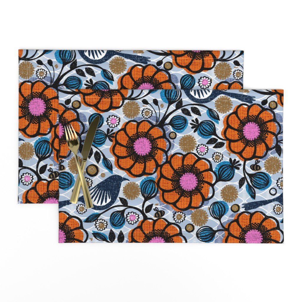 Lamona Cloth Placemats featuring Honeycreepers and bees in the garden by ottomanbrim