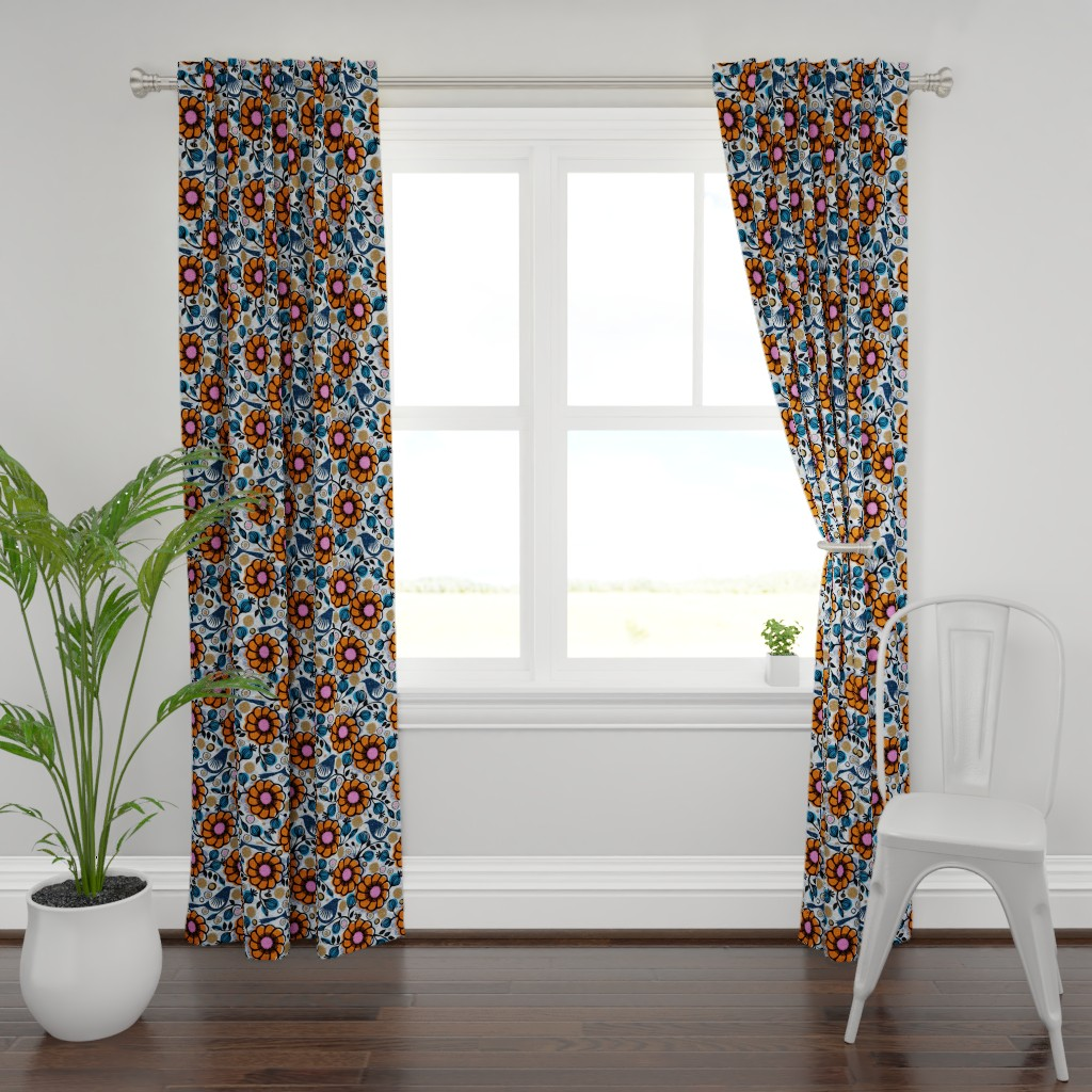 Plymouth Curtain Panel featuring Honeycreepers and bees in the garden by ottomanbrim