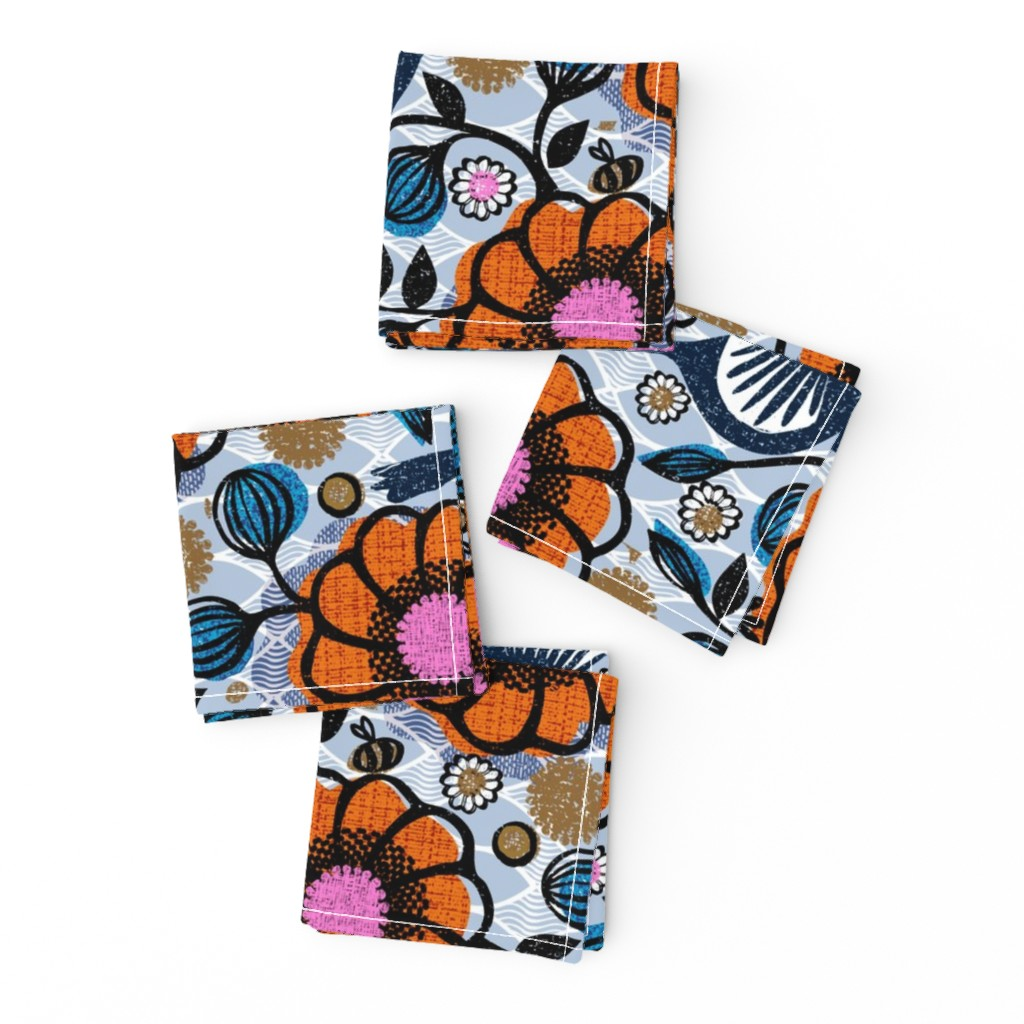 Frizzle Cocktail Napkins featuring Honeycreepers and bees in the garden by ottomanbrim
