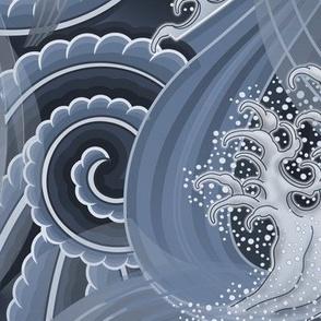 ★ TSUNAMI ★ Wind and Waves Japanese Tattoo / Blue - Jumbo Scale / Collection : Irezumi - Japanese Tattoo Prints