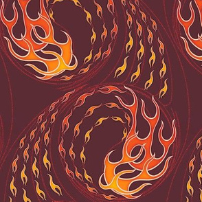 ★ HOT ROD FLAMES ★ Red, Orange, Yellow, Burgundy / Collection : On fire -Burning Prints