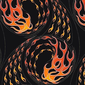 ★ HOT ROD FLAMES ★ Red, Orange, Yellow, Black / Collection : On fire -Burning Prints