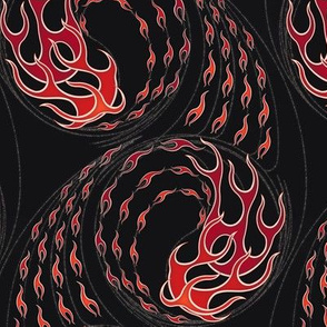 ★ HOT ROD FLAMES ★ Red, Black / Collection : On fire -Burning Prints