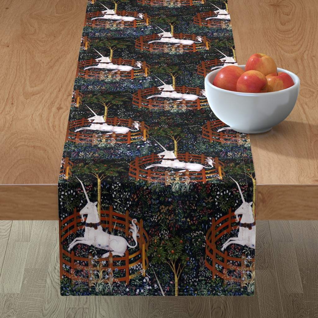 Minorca Table Runner featuring The Unicorn is in Captivity and No Longer Dead ~ Medium by peacoquettedesigns