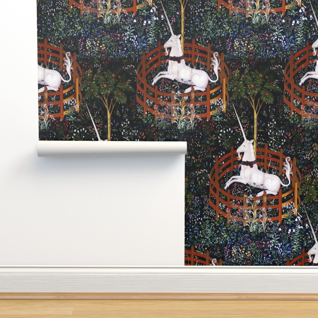 Isobar Durable Wallpaper featuring The Unicorn is in Captivity and No Longer Dead ~ Medium by peacoquettedesigns