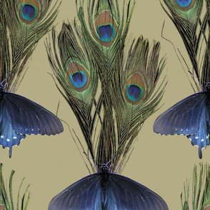 Peacock Feather Butterfly Art Nouveau fabric1 - LT-OLIVE