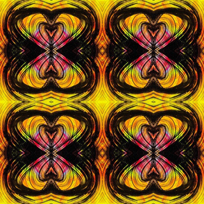 Yellow, black curvilinear hearts