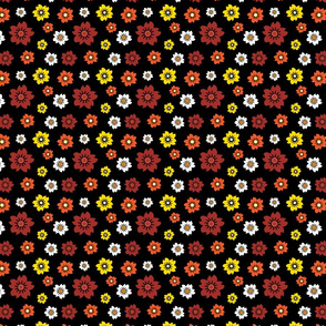 Seamless vector floral pattern, black background, and red, yellow, white and orange flowers