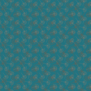 Seamless vector floral pattern, petrol background, brown flowers