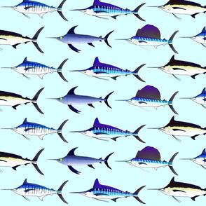 5 billfish on light blue background