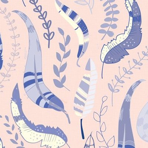Leaves & Feathers on pink