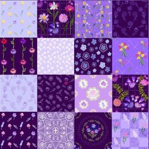 Purple Floral Patchwork Cheater Quilt