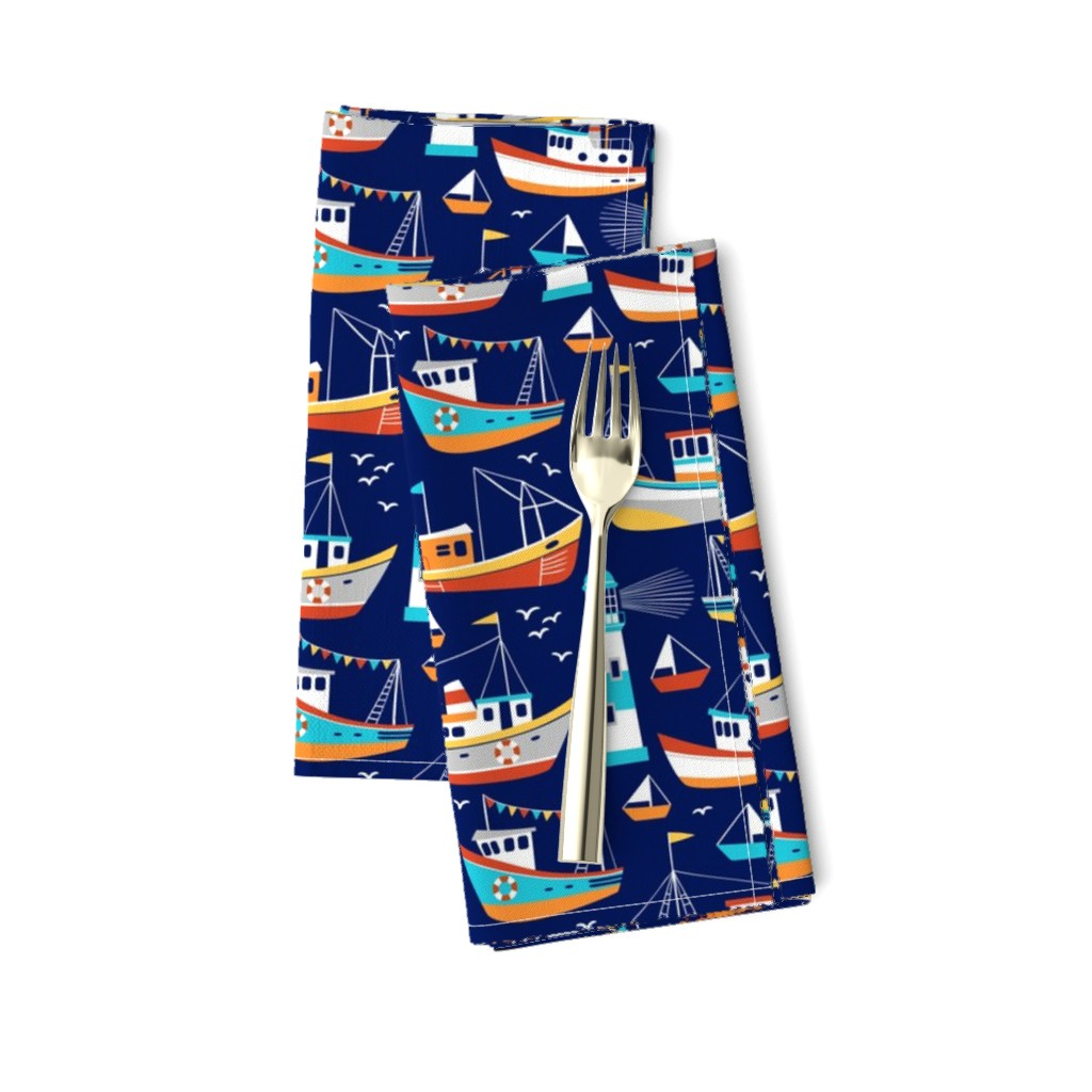 Amarela Dinner Napkins featuring fishing boats - dark blue, small by mirabelleprint