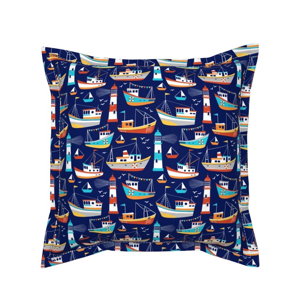 Serama Throw Pillow featuring fishing boats - dark blue, small by mirabelleprint