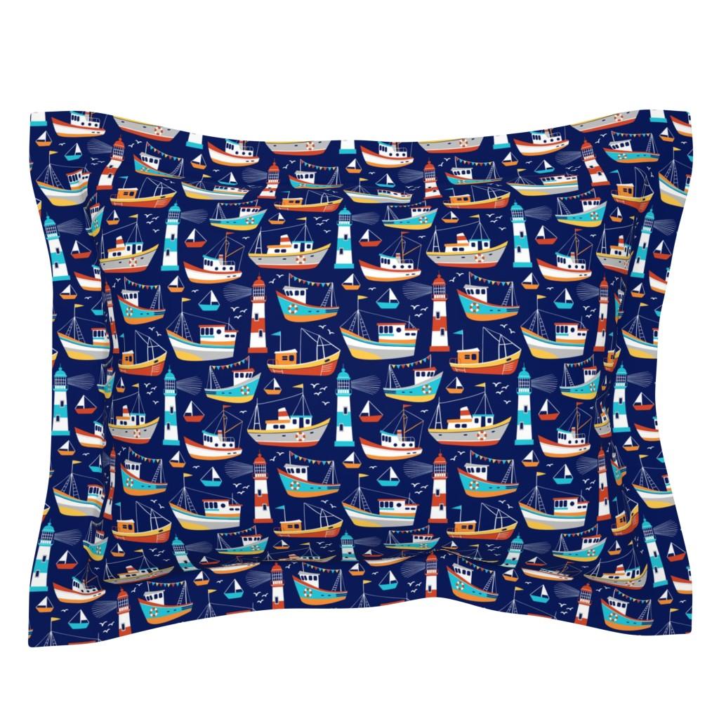 Sebright Pillow Sham featuring fishing boats - dark blue, small by mirabelleprint