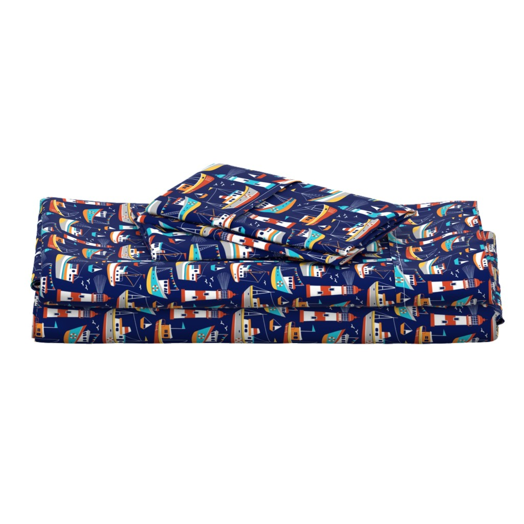 Langshan Full Bed Set featuring fishing boats - dark blue, small by mirabelleprint