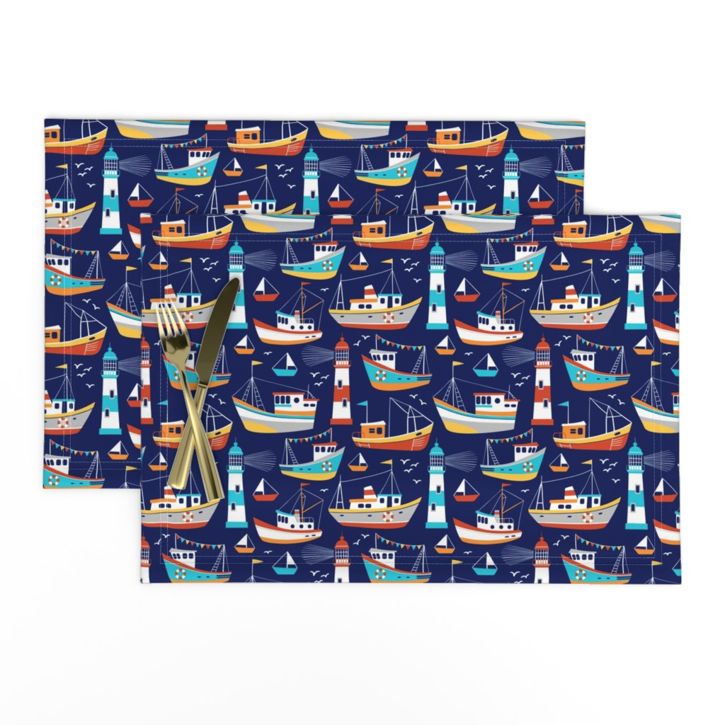 Lamona Cloth Placemats featuring fishing boats - dark blue, small by mirabelle_print