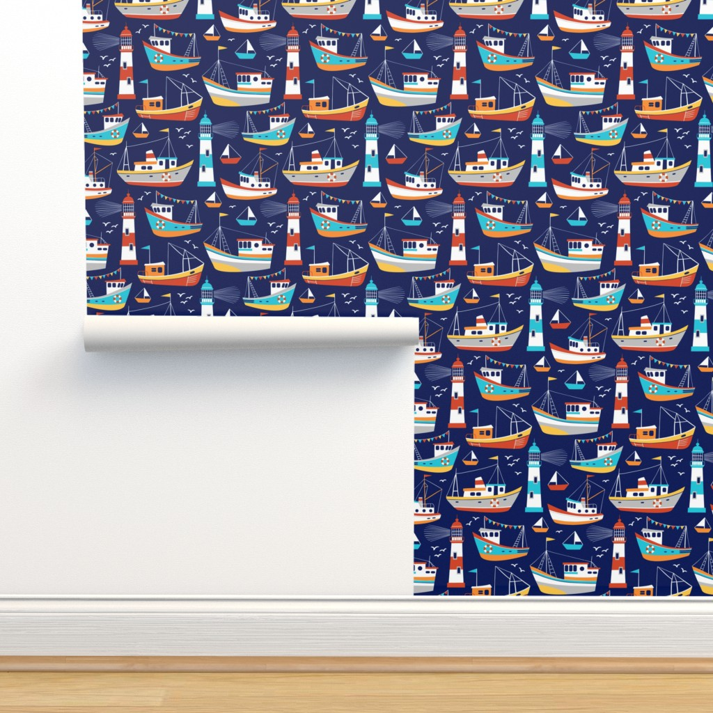 Isobar Durable Wallpaper featuring fishing boats - dark blue, small by mirabelleprint