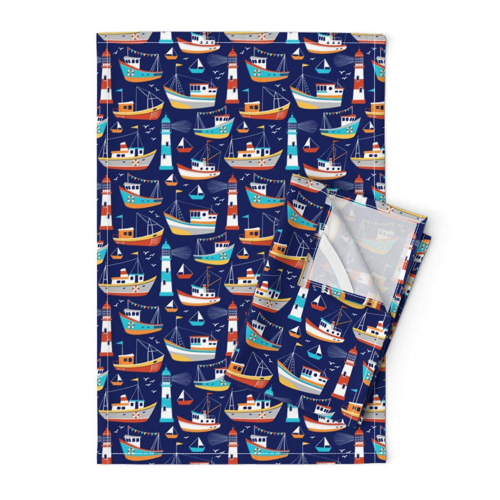 Orpington Tea Towels featuring fishing boats - dark blue, small by mirabelleprint