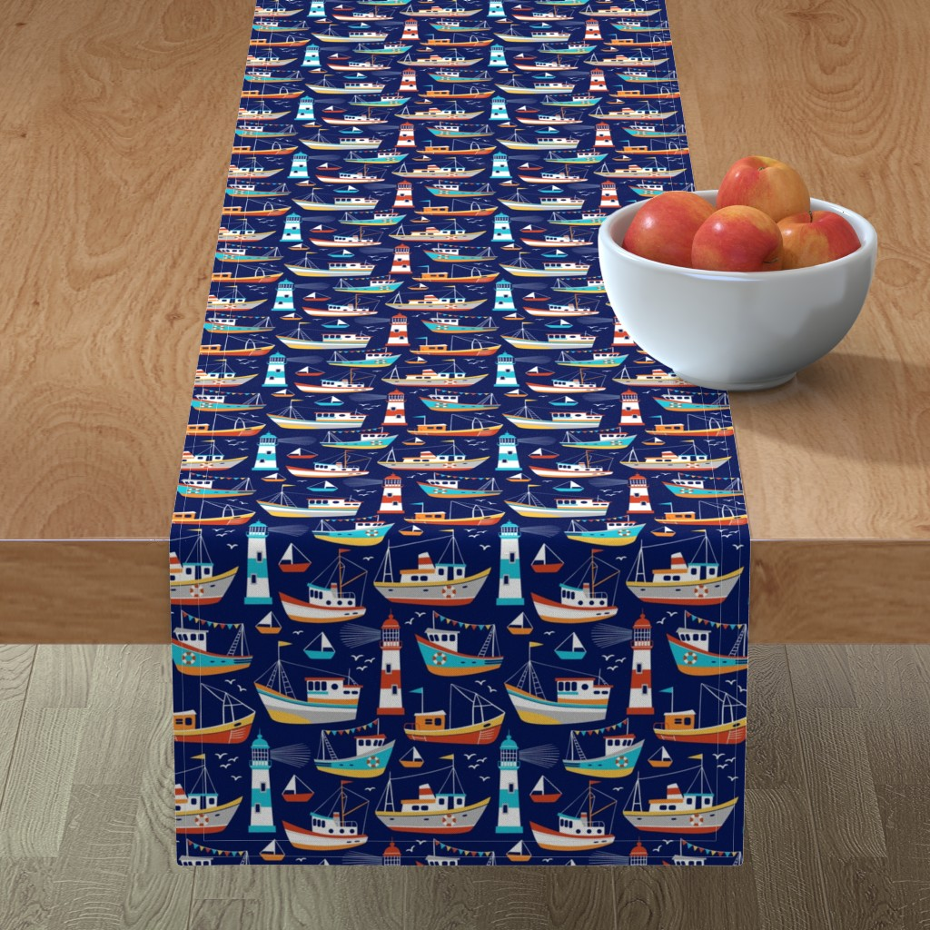 Minorca Table Runner featuring fishing boats - dark blue, small by mirabelleprint