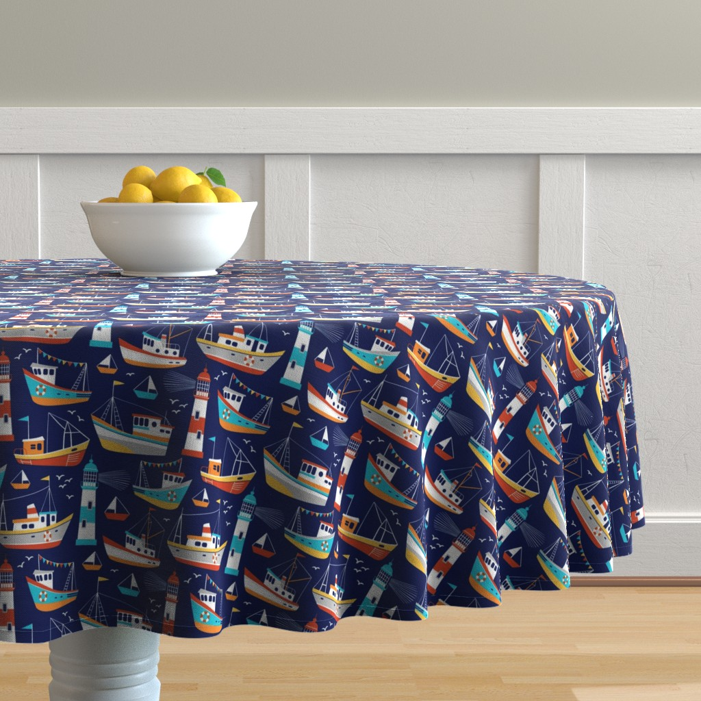 Malay Round Tablecloth featuring fishing boats - dark blue, small by mirabelleprint