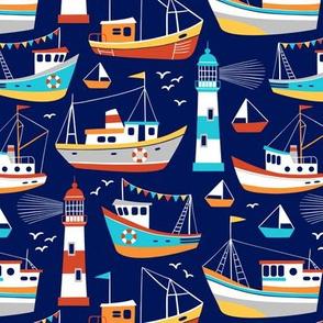 fishing boats - dark blue, small