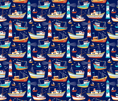 fishing boats - dark blue, small