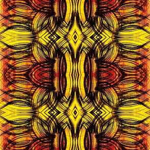 Feather leaf design in red to yellow horizontal