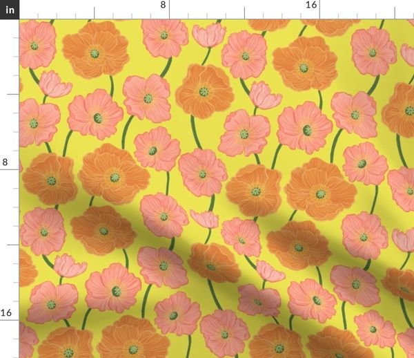 Fabric By The Yard Large Scale Botanical Icelandic Poppies On Yellow
