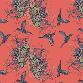 Flight of the Hummingbird Deeper Coral Background