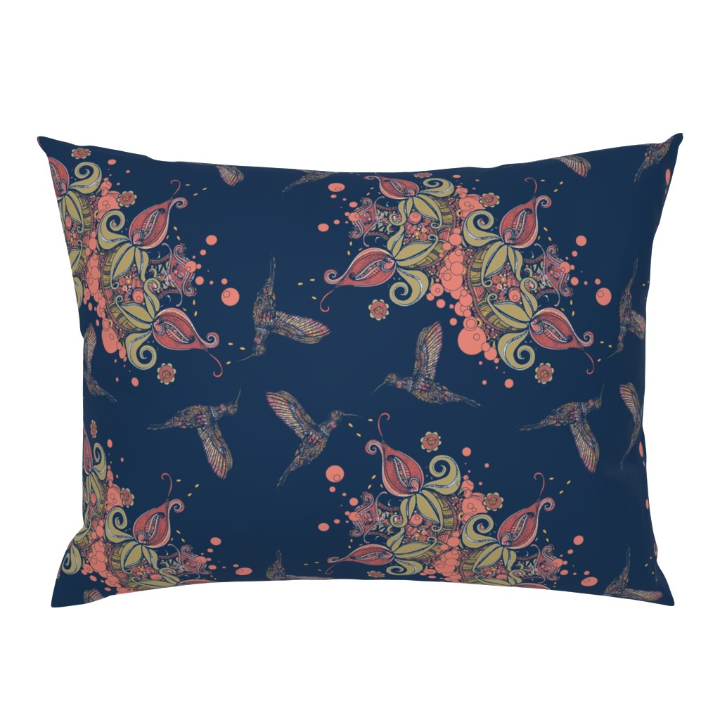 Campine Pillow Sham featuring Flight of the Humming Bird Navy by rebeccaink