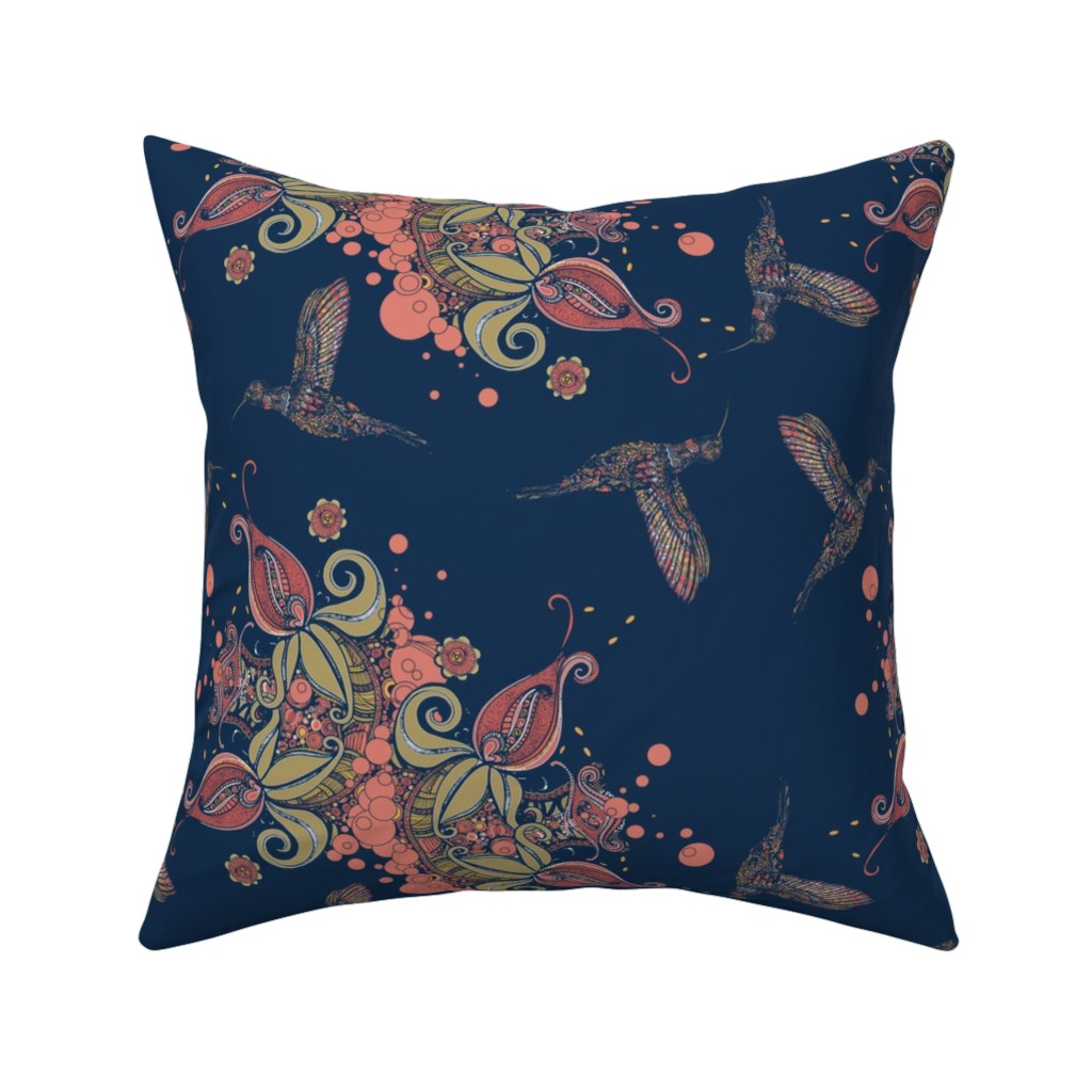 Catalan Throw Pillow featuring Flight of the Humming Bird Navy by rebeccaink