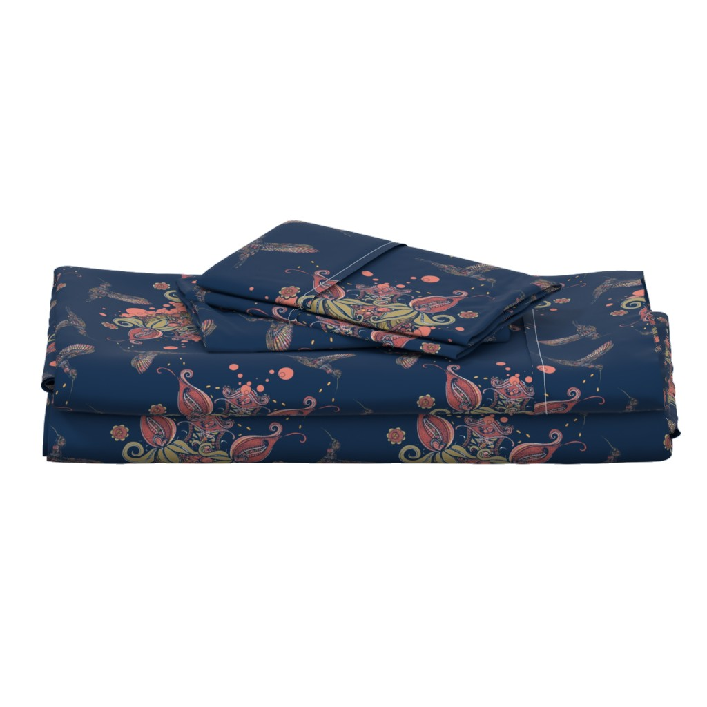 Langshan Full Bed Set featuring Flight of the Humming Bird Navy by rebeccaink