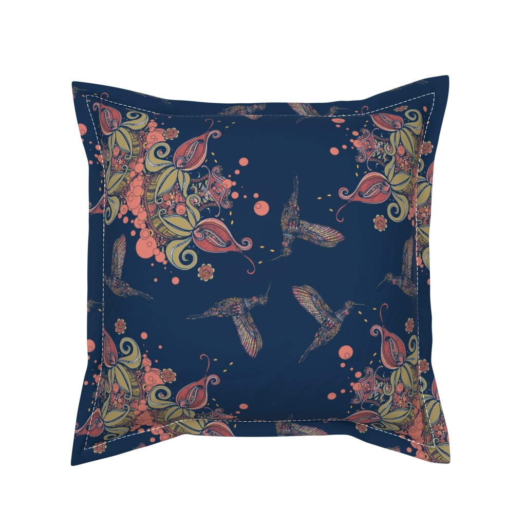 Serama Throw Pillow featuring Flight of the Humming Bird Navy by rebeccaink