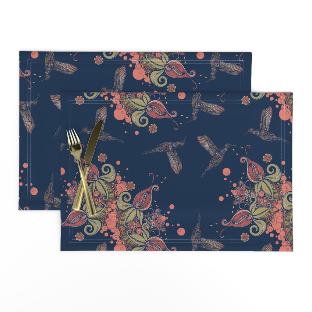 Lamona Cloth Placemats featuring Flight of the Humming Bird Navy by rebeccaink