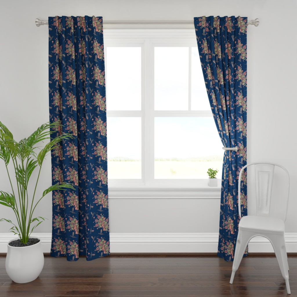 Plymouth Curtain Panel featuring Flight of the Humming Bird Navy by rebeccaink